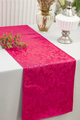 """Wedding Linens Inc. 12"""" x 108"""" Jacquard Damask Polyester Table Runners"""