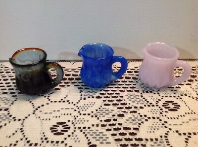 Boyd Rubina Lavender and Blue Slag Art Glass Cream Pitcher TOOTHPICK HOLDERS
