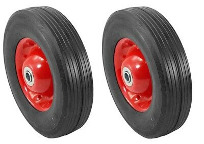 "2pc 10"" Inch Replacement Solid Rubber Tire & Steel Wheel for Dolly Hand Cart"