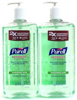 2 Purell Advanced Hand Sanitizer Refreshing Aloe Triple Action Moisturizers 33.8