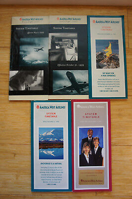 Set of 5 America West Airlines Timetables (1993-1999) - see photo - Media Mail
