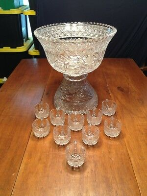 Stunning Antique ABP Brilliant Period Cut Glass Heavy 2pc Punch Bowl/10 Cups