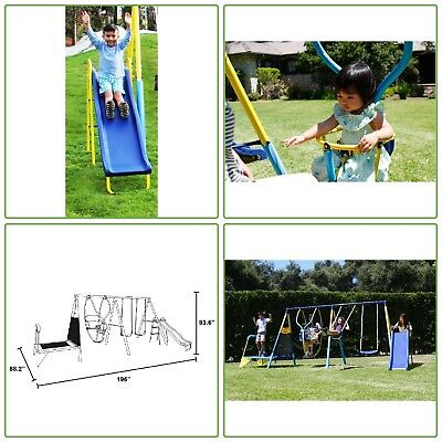 Swing Sets For Backyard Outdoor Playground Kit Kids Trampoline Metal