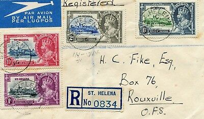 1935 Silver Jubilee St Helena set on Registered Cover to South Africa