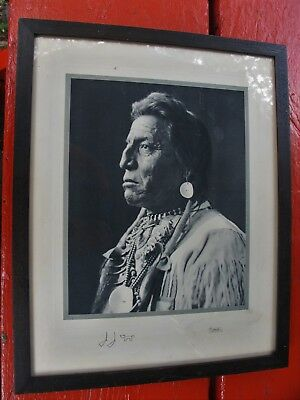 Framed photo by Hileman,Montana of chief Two Guns White Calf taken glacier
