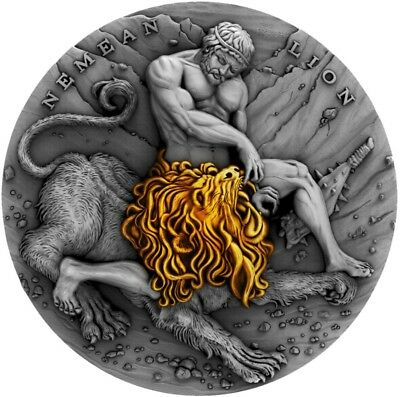 2018 Niue $5 Nemean Lion, TWELVE LABOURS OF HERCULES 2 Oz Silver Coin.