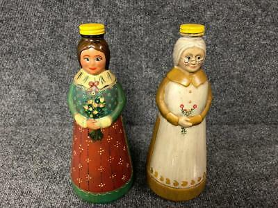 2 Hand Painted Mrs Butterworth / Aunt Jemima Syrup Bottles