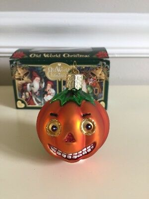 Old World Christmas Pumpkin Vintage Jack O Lantern Halloween EUC