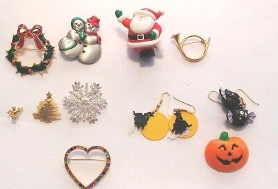 Lot of Holiday/Halloween Pins and Earrings (Monet snowflake, JJ snow couple pin)