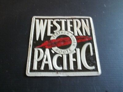 "Vintage 1950s Post Cereal Tin Railroad Sign ""Western Pacific"""