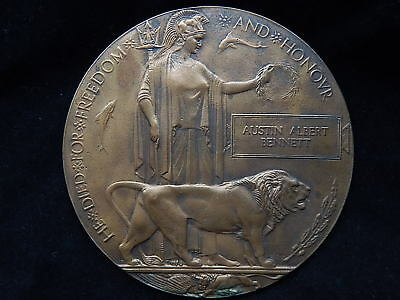 WWI British Named Death Penny Memorial Bronze Soldier Relief Medallion Plaque~NR