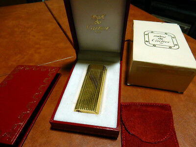 Cartier Lighter Gold Plated Vertical Lines