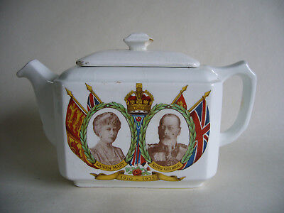 Ringtons Maling Teapot Queen Mary George V Commemorative Silver Jubilee 1910-35