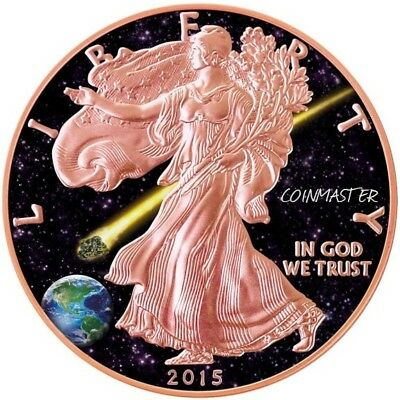 2015 1 Oz Silver $1 ADMIRE METEORITE EAGLE Coin, 24kt Rose Gold Gilded..