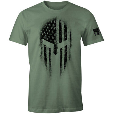 American Spartan Warrior USA Flag Military Veteran Patriotic Shirt
