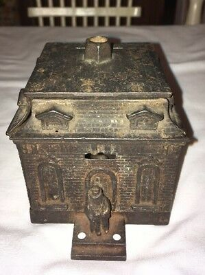 Vintage 6 piece CAST IRON State Bank STILL COIN BANK