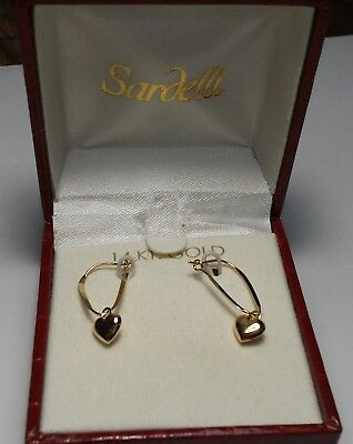 "New 14K Real Yellow Gold Sardelli Small High Polished Puffed Hearts 1"" Earrings"