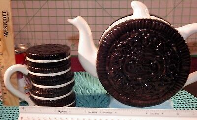 Vintage Nabisco Oreo Cookie Teapot Brown & White and Oreo Cup with Cover Lid