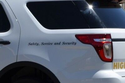 """Pair CHP  Polar Bear Crown Victoria """"Safety Service and Security"""" Decals BLACK"""
