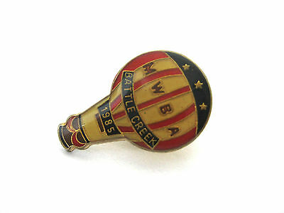 HOT AIR BALLOON Vintage Enameled Stick Pin  * 1985 MWBA Battle Creek  FLAG STARS