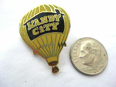 HOT AIR BALLOON Vintage Enameled Stick Pin  * HANDY CITY Black House on Yellow