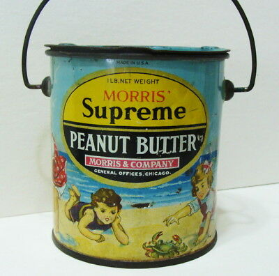 Orig Advertising Morris Supreme Peanut Butter Tin Pail Babes Day On The Beach