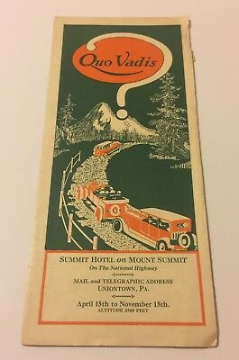 1920s Summit Hotel Uniontown Pennsylvania Brochure #B-17