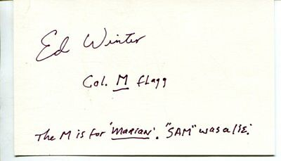 M*A*S*H col flagg mash ED WINTER autographed HAND SIGNED  with COA 3404