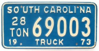 Vintage Unused NOS South Carolina 1973 28-Ton Truck License Plate, 69003, Beauty