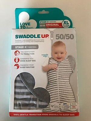 Love To Dream Swaddle XL WRAP BABY TRANSITIONAL 50/50 Stage 2 Grey And White