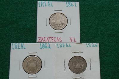 1862 Go  1826 Mo 1861 Zs  1 Real   silver Caps & Rays 3 coins lots