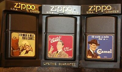 Camel Zippo CZ's 323, 324 & 325 - Camel Walk a Mile Series - Only 200 Made!-MIB