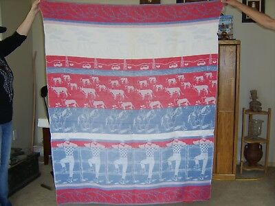 Vintage 1930-50's Beacon Camp Style Cotton Blanket  Cattle Ranch & Cowboys