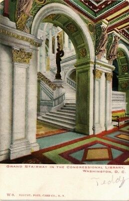 Dr Jim Stamps Us Grand Stairway Congressional Library Washington Dc Postcard