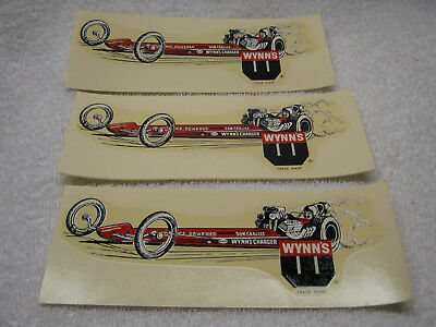 Vintage Wynns Don Garlitts Drag Racing Dragster Car Decal Lot Of 3