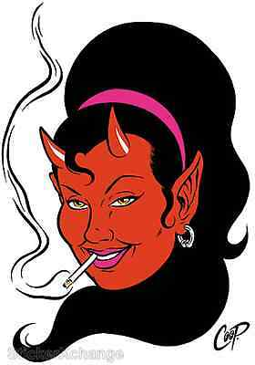 Smokin' Devil Girl STICKER Decal Poster Artist Coop CP47 LARGE SIZE