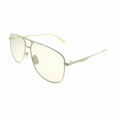 dea81b29008 New Authentic Gucci GG0336S 006 Ivory Metal Aviator Sunglasses Pink Lens