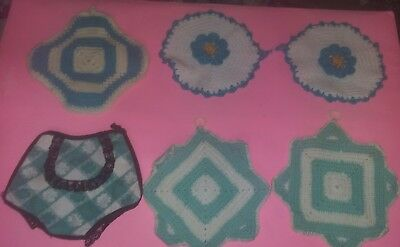6 Vintage Hand Crocheted Potholders Nice Condition