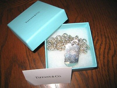 Tiffany & Co. Auth 2003 Sterling Silver Dog Tag W/heavy Sterling Chain, Preowned