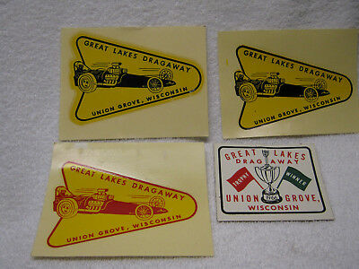 Vintage Great Lakes Dragaway 1966 Decal Lot Of 3 Plus Sticker Dragster Car Rare