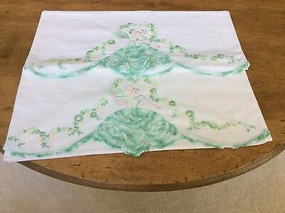 Vintage Pair Southern Belle Pillowcases Finely Embroidered Flowing Crochet Dress