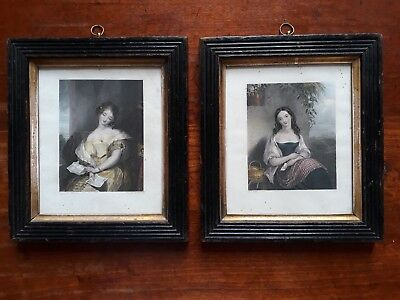 Antique 19Th C Pair Of Wooden Photo Picture Frames With Original Engravings