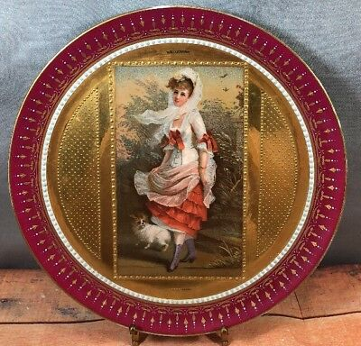 Royal Vienna Beehive HP Gold Gilt Cabinet Plate Girl & Dog Werner Signed (c)