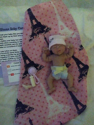 Miniature Full Body Solid Silicone baby Girl reborn doll Mini 4""