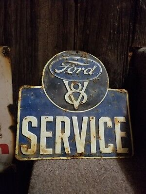 Old vintage Ford truck car service embossed metal oil sign garage gas station