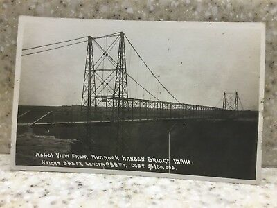 Vintage RPPC Hansen Bridge from Rim Rock over the Snake River postcard unused