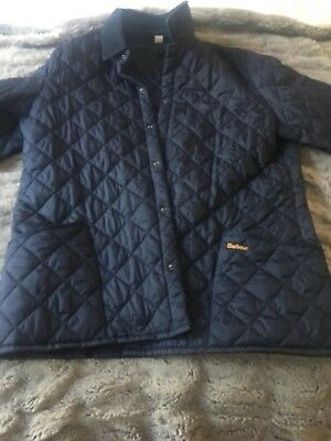 NAVY Men's BARBOUR CLASSIC ESKDALE Snap-Button Quilted Jacket XL ENGLAND -