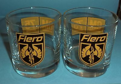 2 General Motors 75th Anniversary Pontiac Fiero Highball Bar Drinking Glasses