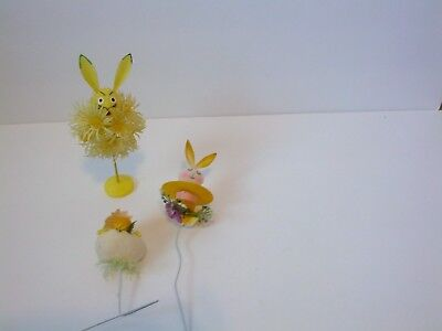Lot of Vintage Plastic & Flocked Easter Chick Rabbit Flower Picks Decorations