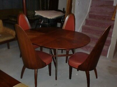 Mid Century Modern Chair Set (4) &Table Dining Chet Beardsley Beautiful Walnut